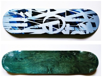 Original Limited Edition Skateboard Skate deck with hand signed COA (Blue coloured front with green coloured back)