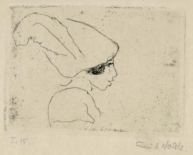 Emil Nolde, 'Mädchenprofil (Mädchen mit Hut) (Girl Profile (Girl with Hat))', 1911, Print, Etching on wove paper, Henze & Ketterer & Triebold