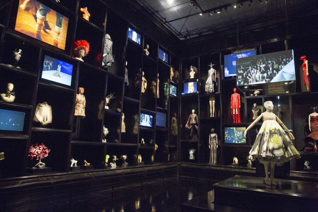 Installation view of 'Cabinet of Curiosities' gallery. Alexander McQueen: Savage Beauty, at the Victoria and Albert Museum, London,  2015