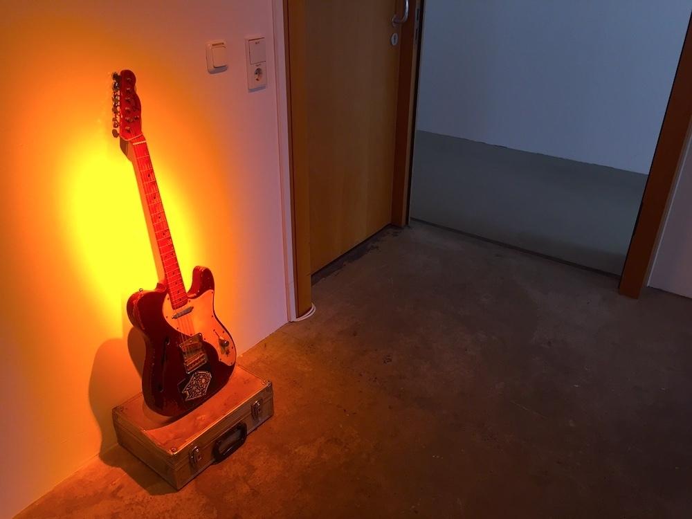 "A guitar in the display dedicated to Ali Ibrahim ""Ali Farka"" Touré, at documenta 14. Image: Ben Davis."