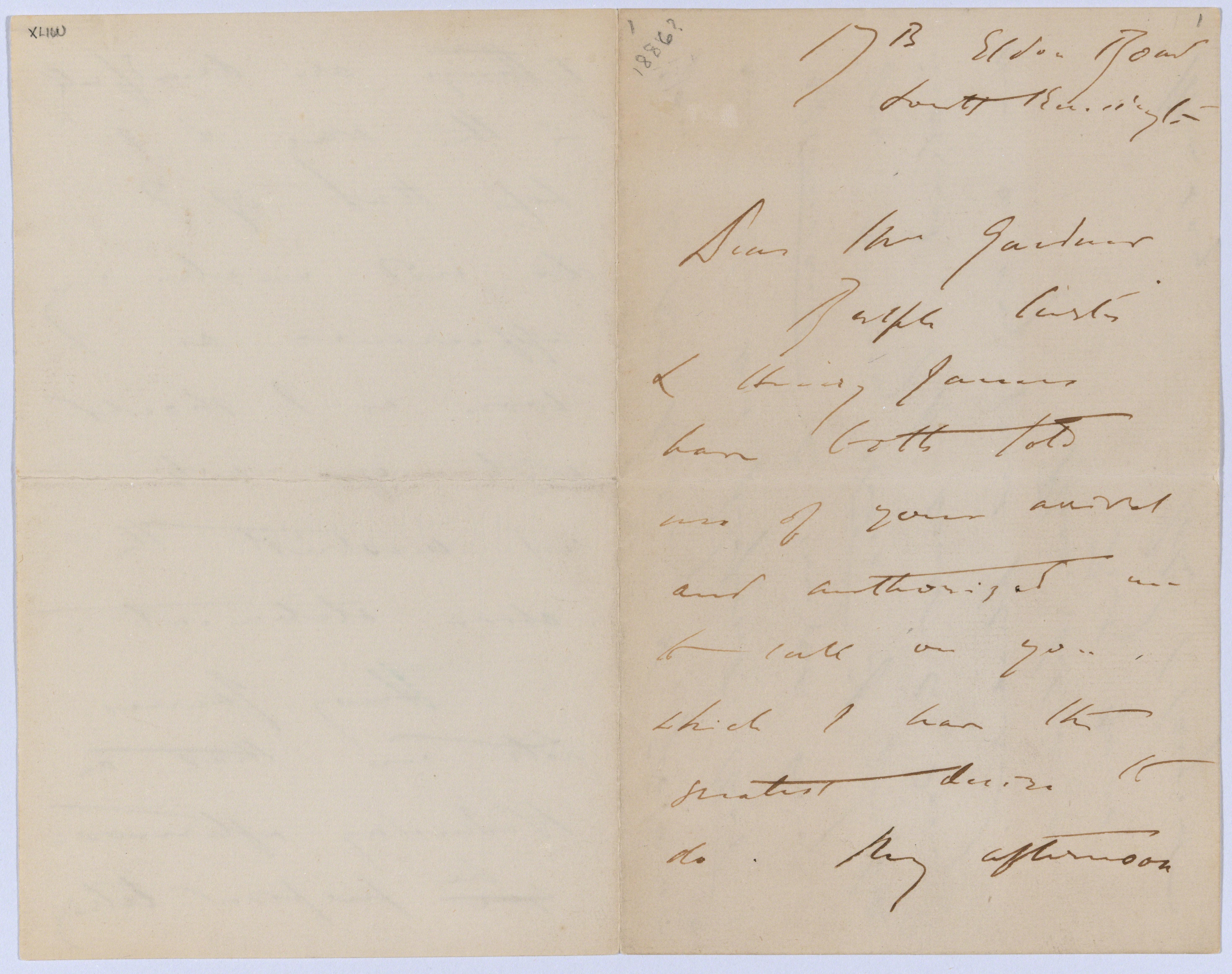 , 'Letter to Isabella Stewart Gardner from 17B Eldon Row, South Kensington,,' 1886, Isabella Stewart Gardner Museum