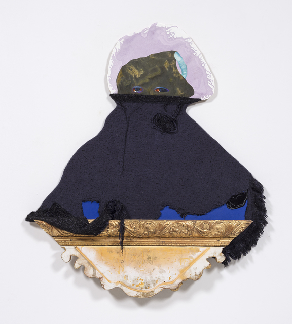 David Shrobe, 'Cloaked', 2020, Sculpture, Oil and acrylic on canvas and paper, wood, wool tweed, canvas fabric and gold leaf frame molding mounted on carved wood, Steve Turner