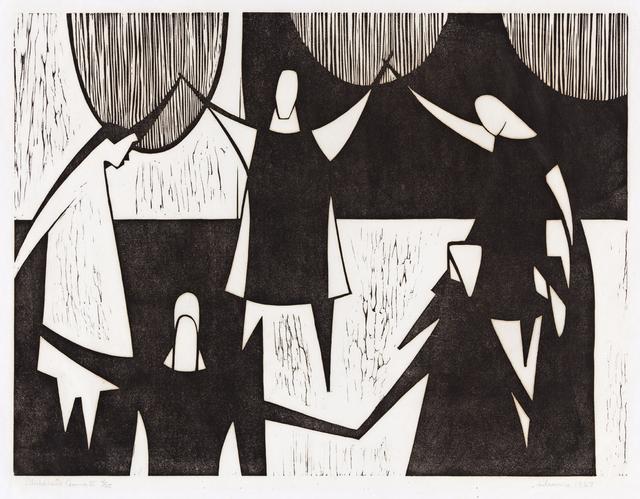 Samella Lewis, 'Children's Game II', 1967, Print, Linoleum cut on Japan paper, Swann Auction Galleries