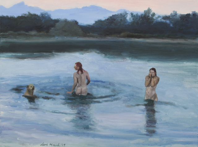 , 'Bather couple with labrador, at dusk,' 2019, 99 Loop Gallery