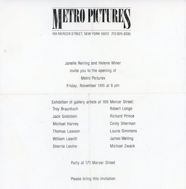 Sherrie Levine, 'Metro Pictures, Inaugural Exhibition, Paper Invitation', 1980, James Fuentes