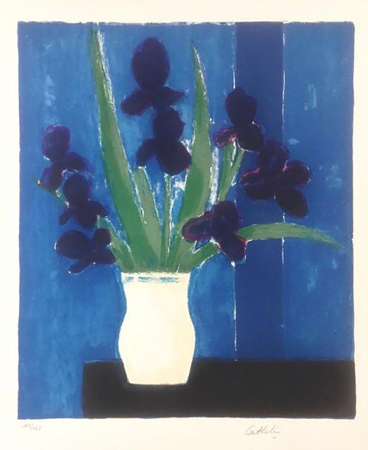Bernard Cathelin, 'Iris sur fond bleu', 1988, Hans den Hollander Prints