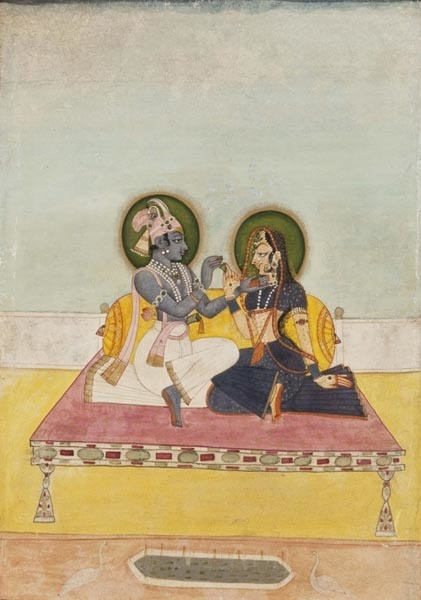 , 'Krishna and Radha Exchanging Betel,' ca. 1800, Aicon Gallery