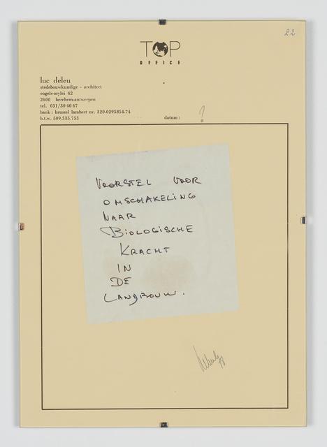 , 'Voorstel voor Omschakeling naar Biologische Kracht in de landbouw,' 1978, Tatjana Pieters