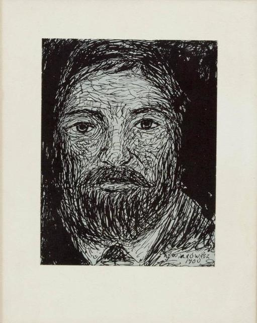 Abraham Walkowitz, 'Modernist Drawing, Portrait of a Man', Early 20th Century, Lions Gallery