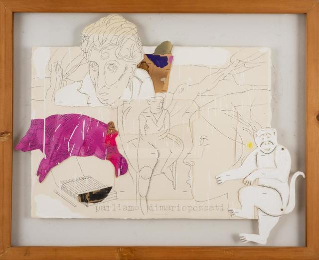 Concetto Pozzati, 'Parliamo Di Mario Pozzati', 1980, Drawing, Collage or other Work on Paper, Collage and mixed media on cardboard, Itineris