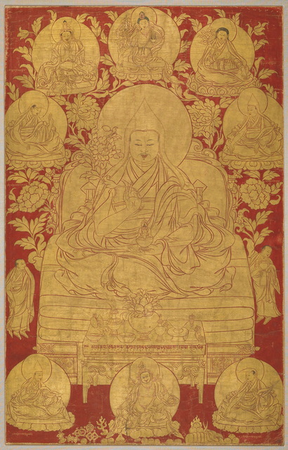 , 'The Fifth Dalai Lama with Previous Incarnations,' 18th century, Rubin Museum of Art