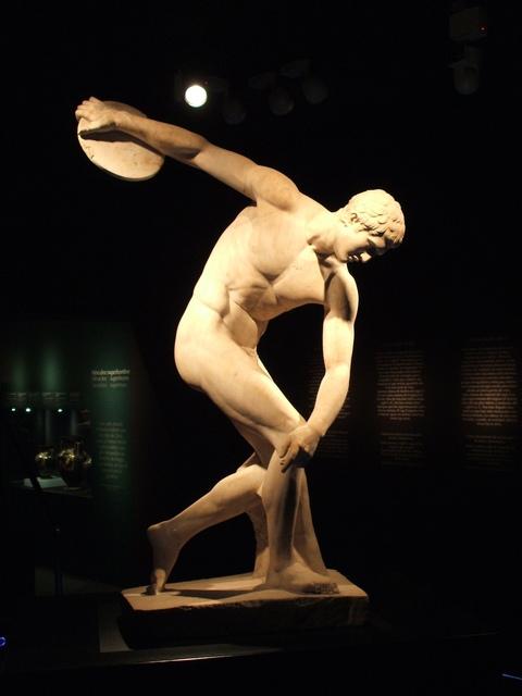 'Discus-thrower (discobolus), Roman copy of Myron's bronze original of the 5th century B.C.', Sculpture, Marble, British Museum
