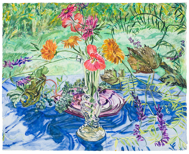 Janet Fish, 'Wild Grapes and Flowers ', 1988, Drawing, Collage or other Work on Paper, Watercolor on paper, DC Moore Gallery