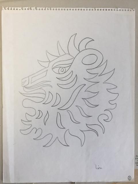 Jean Cocteau, 'Lion (Etude pour un bijou des signes du zodiaque pour la maison FRED)', circa 1960, Drawing, Collage or other Work on Paper, Wax crayon on paper, Leclere