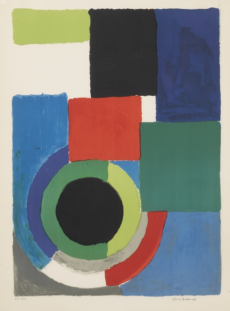 Sonia Delaunay, 'Untitled and Grand carré rouge', 1964 and circa 1970 respectively, Print, One etching and one lithograph, both printed in colors, Sotheby's