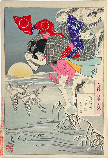 , 'One Hundred Aspects of the Moon: no. 10, Moon of Pure Snow at Asano River, Chikako, the Filial Daughter,' 1885, Scholten Japanese Art