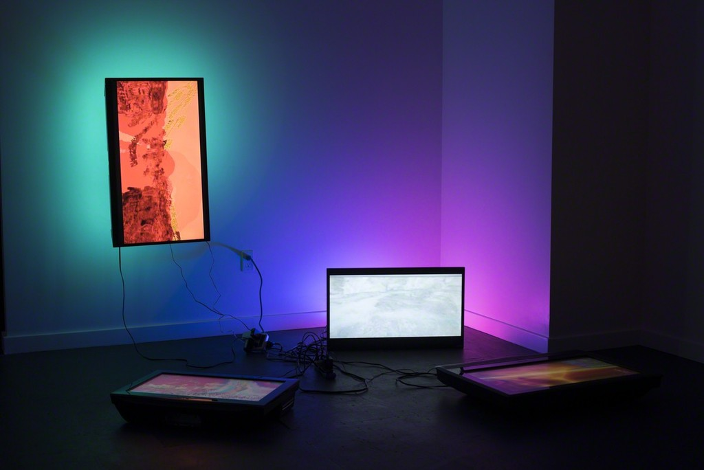 "Paula Morales, ""Poli Softness,"" 2017, 4-channel installation on 4 assorted flat screen tvs, LED cable, and LED bulbs, Dimensions variable"