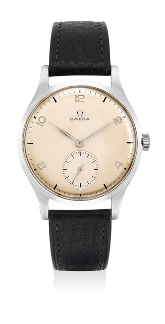 OMEGA, 'A very fine and attractive stainless steel wristwatch with small center seconds and Arabic numerals', 1947, Phillips