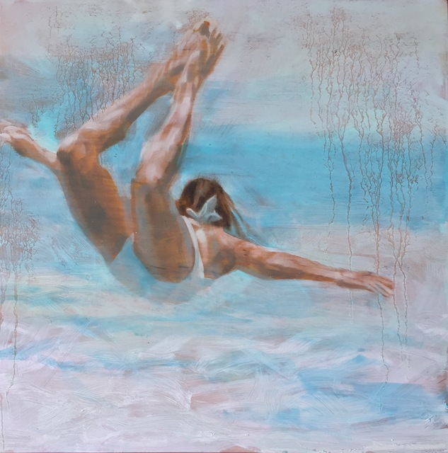 """Carol Bennett, '""""Free Floating"""" oil painting of a woman in a white swimsuit in a pale blue pool', 2017, Eisenhauer Gallery"""