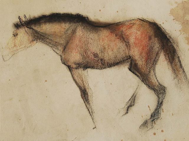 ", 'Horse IV, Coloured Pastel on Paper by Padma Shree Artist Sunil Das ""In Stock"",' 1950, Gallery Kolkata"