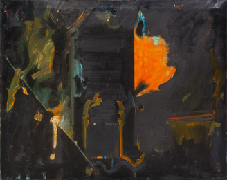 Untitled (Orange and Black Abstract)