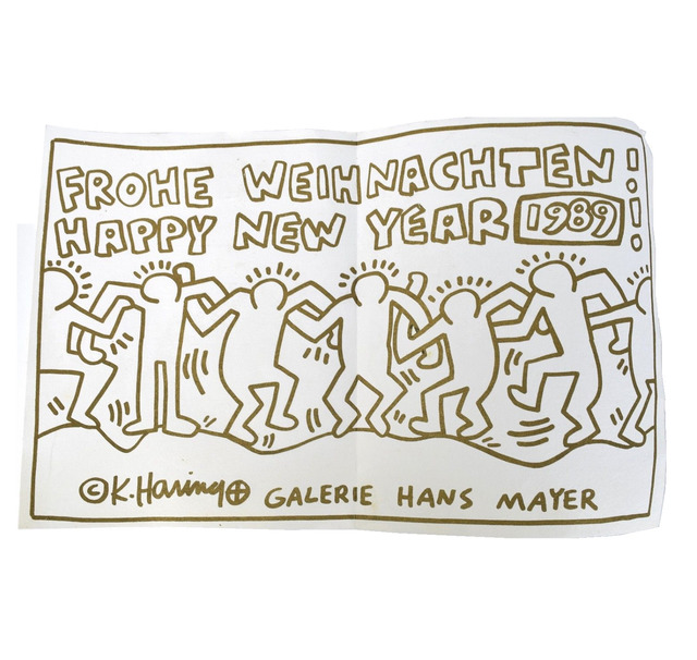 Frohe Weihnachten Und Happy New Year.Keith Haring Frohe Weihnachten Happy New Year 1989 Invitation Poster Galerie Hans Mayer Screenprint In Gold Ink 1989 Available For