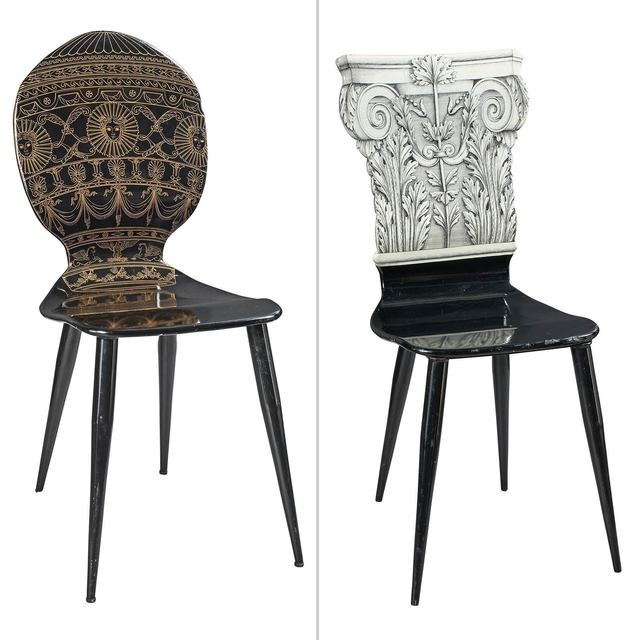 'Two Piero Fornasetti Lithographed Wood and Painted Metal Side Chairs', Doyle