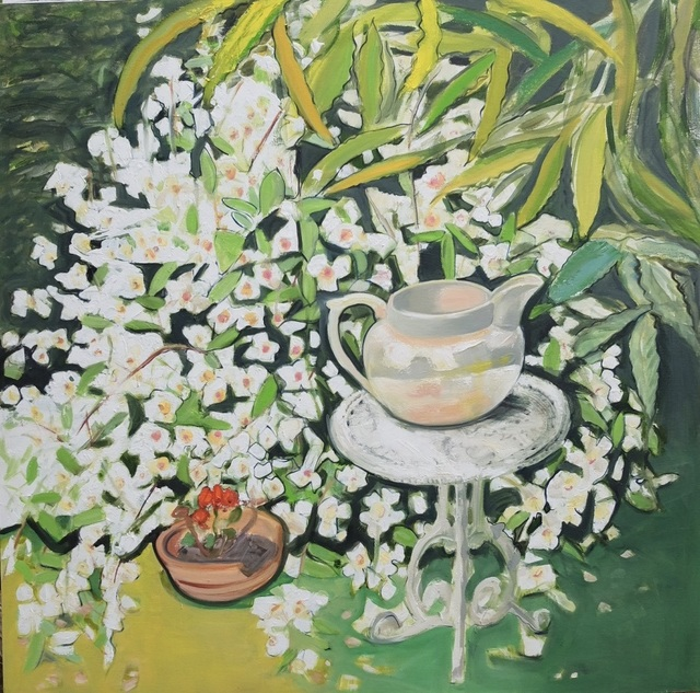Janet Lance Hughes, 'White Jug on table with scented Philadelphus', 2019, Flat Space Art