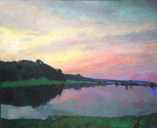 """Larry Horowitz, '""""Moment of Solitude"""" evening landscape with purple, pink sunset reflecting on pond', 2010-2017, Eisenhauer Gallery"""