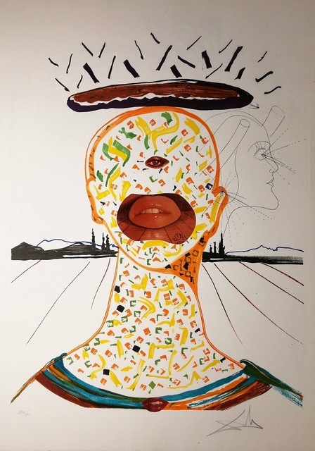 Salvador Dalí, 'Cyclopean Make-up', 1975, Drawing, Collage or other Work on Paper, Original Etching + Lithography + Collage, Dali Paris