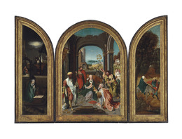 Attributed to the Master of the Von Groote Adoration, 'A triptych: The central panel: The Adoration of the Magi; The wings: The Nativity at Night, with the Annunciation to the Shepherds; and The Flight into Egypt', Painting, Oil on panel, in an engaged frame, Christie's Old Masters
