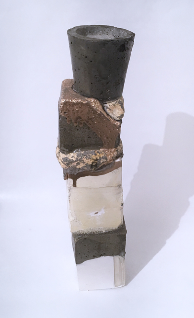 Dena Paige Fischer, 'Layered Votive Sculpture (gold drips)', 2020, Sculpture, Hydrocal, pigmented concrete, paint and polyurethane, Deep Space Gallery
