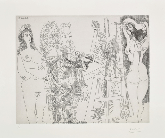 Pablo Picasso, 'L'Atelier, avec un hibou et un envoyé officiel (The Studio, With an Owl and an Official Envoy), plate 65 from the 347 Series', 1968, Phillips