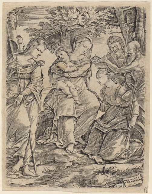 Domenico Campagnola, 'The Virgin and Child with Saints', 1517, Print, Engraving, National Gallery of Art, Washington, D.C.