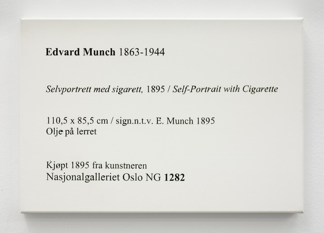 , 'LCM, Edvard Munch, Selvportrett med Sigarett, 1895 / Self-Portrait with Cigarette,' 2009, OSL Contemporary