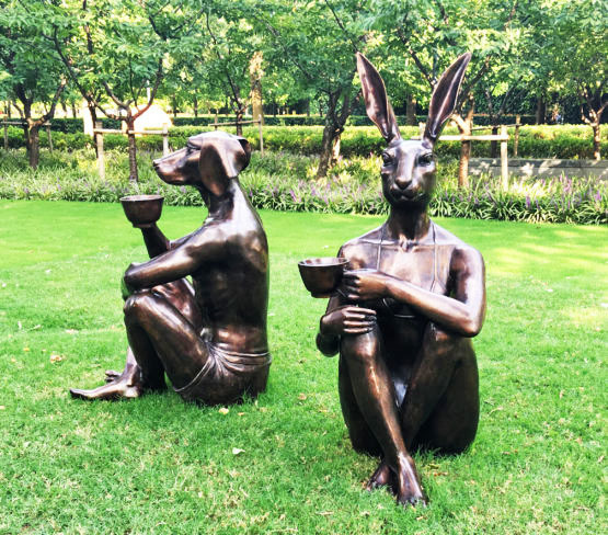 , 'Dogman and Rabbitgirl with coffee – Jing'an Sculpture Park Beijing and Pullman Melbourne on the Park,' , Gillie and Marc Art Gallery