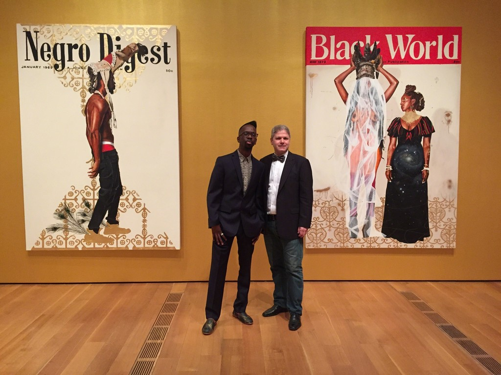 "Artist Fahamu Pecou (left) with gallerist Michael Lyons Wier (right) at the High Museum ""Imagining New Worlds"" opening"
