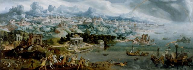 Maerten van Heemskerck, 'Panorama with the Abduction of Helen Amidst the Wonders of the Ancient World', 1535, Walters Art Museum