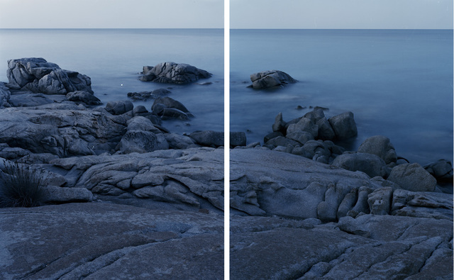 , 'Granite in Sardinia formed during the Variscan orogeny, a geologic mountain-building event caused by Late Paleozoic continental collision between Euramerica (Laurussia) and Gondwana to form the supercontinent of Pangaea. Lido di Orrì, Sardinia. (Diptych),' 2016, MATÈRIA