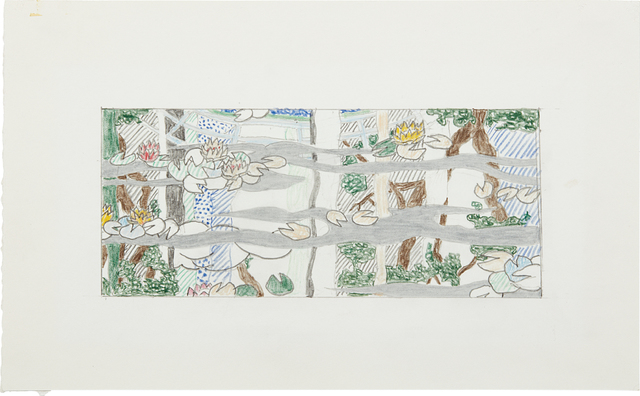 Roy Lichtenstein, 'Water Lilies Tapestry (Study)', 1995, Drawing, Collage or other Work on Paper, Graphite and colored pencil on paper, Phillips