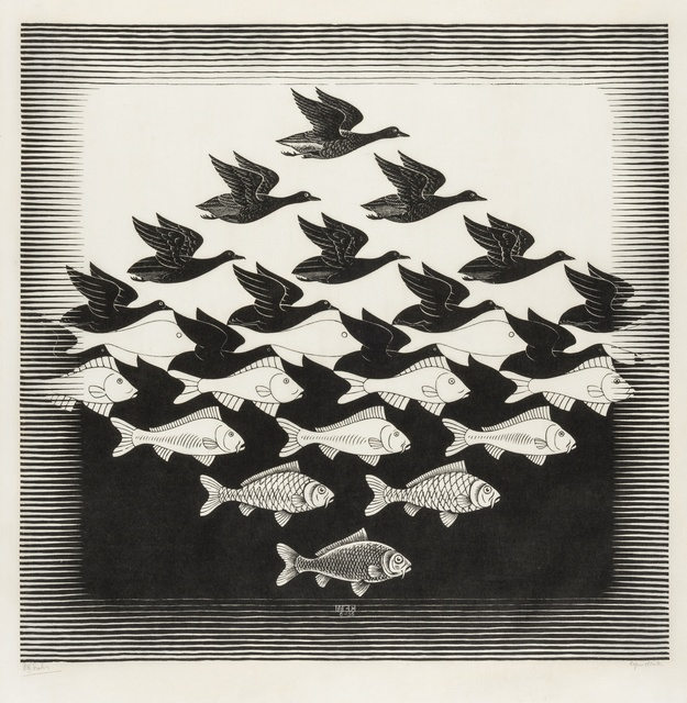 Maurits Cornelis Escher, 'Sky and Water I (Bool 306)', 1938, Print, Woodcut printed in black, Forum Auctions