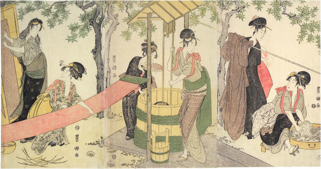 , 'Women Washing and Stretching Cloth,' ca. 1795, Scholten Japanese Art