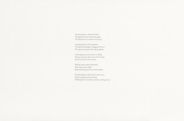 , 'Wallace Stevens, The Snow Man (1923), v.2,' 2018, Gallery Joe