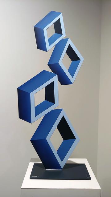 """Daniel Sanseviero, '""""4 Blue Boxes"""" illusion sculpture, 28x 12"""" Metal and Enamel', 2019, ARDT Gallery"""