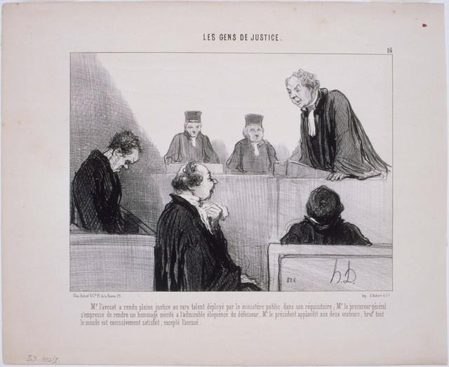 Honoré Daumier, 'Les Gens de Justice: M. L'Avocat a rendu pleine Justice...', 1846, Phillips Collection