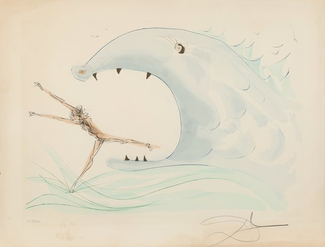 Salvador Dalí, 'Jonah and the whale, from Our Historical Heritage', 1975, Print, Engraving with pochoir in colors on Arches paper, Heritage Auctions