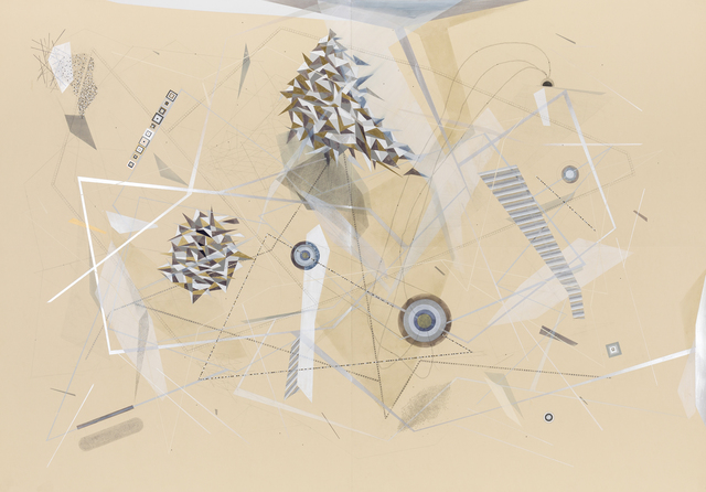 , 'Norde- Sco: Floating City with Ice Habitat with; Miniature and Thermal Elements with Utopian Underground Segments and Construction of Structure Steel Elements and Bright Underworld of Amber Computations Triangle Headquarters with Complete Love Algorithm and Structure of Emotions and Magnetic Resurrection Triangles and Cosmic Simulations Centers with Silver Sickness Nets With Tower Manifesto and Ecstatic White Metallic Mine ,' 2014-2015, Carrie Secrist Gallery