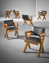 Set of six 'Showroom' armchairs, model no. PJ-SI-49-A, possibly designed for the Tagore Theater, Chandigarh