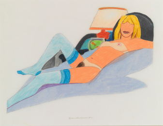 Tom Wesselmann, 'Study for Stockinged Nude with Fish Bowl (Purple Blanket, Black Pillow),' 1982, Sotheby's: Contemporary Art Day Auction