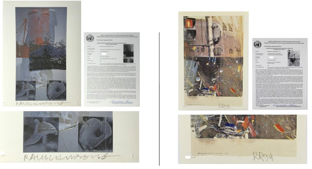 "Robert Rauschenberg, '2-PIECE SET- ""Bulkhead"" & ""Tanya's Veil"", 1993/94, SIGNED Editions, WFUNA, w/ United Nations COA ', 1992, VINCE fine arts/ephemera"